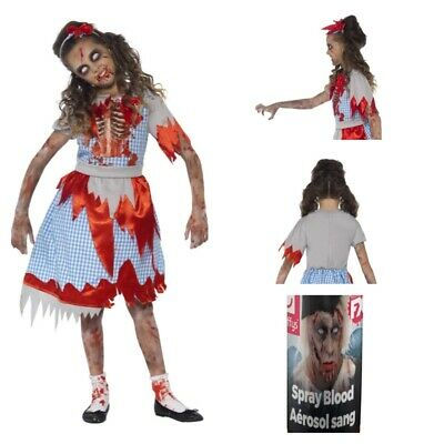 Girls Zombie Country School Girl Uniform Costume FREE Blood Evil Dead Apocalypse