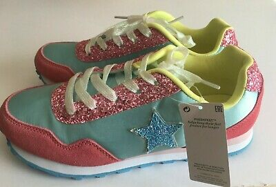 M&S Kids Girls Pink/Blue/Yellow Mix Lace Up Trainers  UK4 & 5  RRP £26