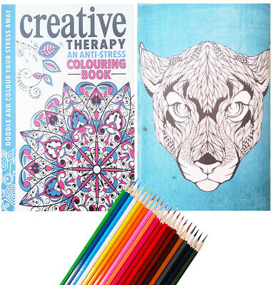 Colour Therapy Creative Adult Colouring Book + 20 COLOURING PENCILS