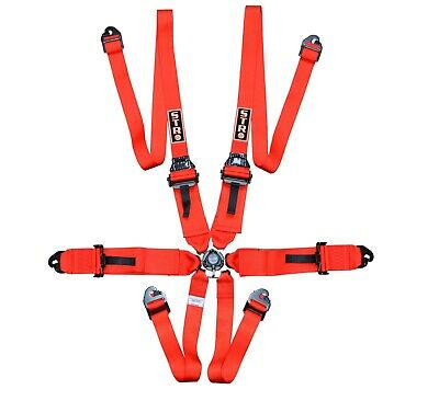 "STR 6-Point 3"" to 2"" FHR HANS Race/Rally Harness Seat Belt FIA 2024 - Red"