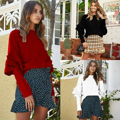 Women Knitted Sweater Bat Long Sleeve Loose Oversized Pullover Jumper Blouse