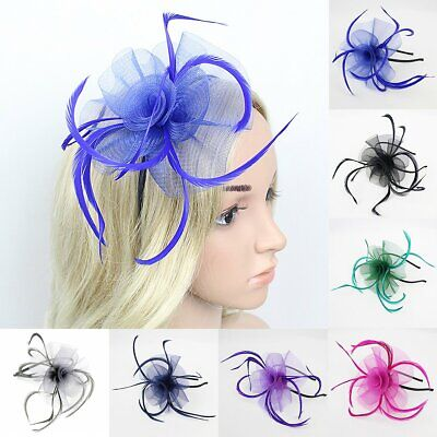 Women Girls Feather Fascinator Hair Clip Flower Derby Hat Party Wedding Headwear