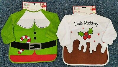 NEW! CHRISTMAS Baby / Toddler Long Sleeve Bibs. Little Pudding or Elf.