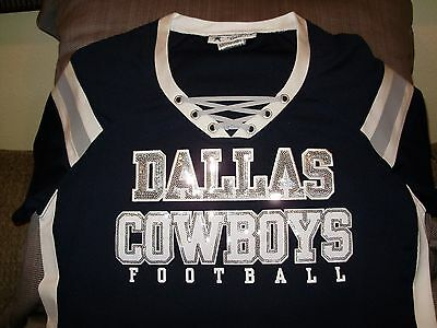 NFL Dallas Cowboys Sparkle Bling Sequins Fitted Jersey Shirt Women's Size Medium