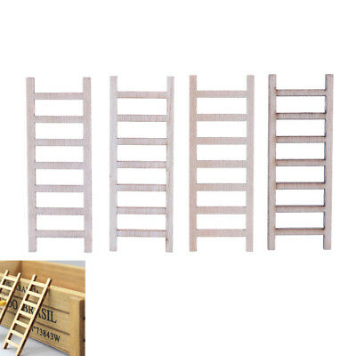 4x DIY Gift Dollhouse Miniature Wood Stairs Toy  Garden Fairy Home Decoration ^P