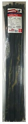 """(50) Black 24"""" Inch Nylon Heavy Duty Cable Wire Wrap Zip Ties 175 LBS USA MADE"""