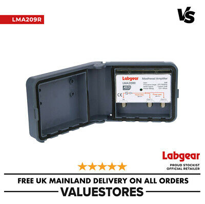 Labgear 9dB 1-In 2-Out Low Noise Fixed Gain Masthead Amplifier LTE800 Filter