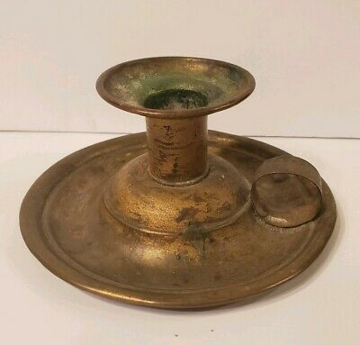 """Early Primitive Brass Candle Holder Candlestick Tray 18th C. Early 19C 4.5"""" x 2"""""""