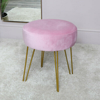 Pink Velvet Stool with Gold Hairpin Legs Bedroom Luxury Seating Dressing Table