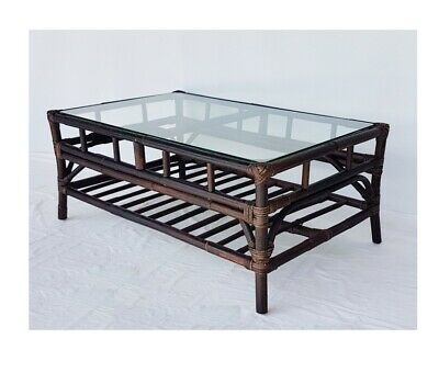STUNNING Eva Cane COFFEE TABLE WITH GLASS TOP