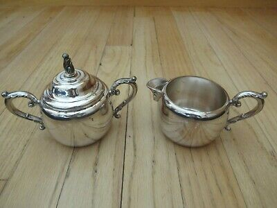 WM A ROGERS Silver Plate Creamer and Sugar Bowl with Lid