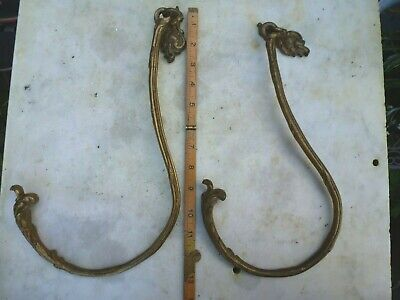 Vintage Brass Curtain Tie Backs Hooks French Rococo Baroque Old
