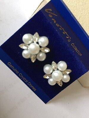 White Pearl Diamanté Flower Silver Stud Earrings Bridal Wedding Accessories