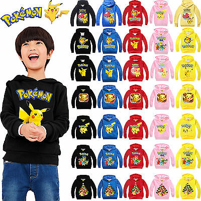 Pokemon Pikachu Kids Girl Boy Clothing Hoodies Sweatshirt Hooded Jumper Sweater