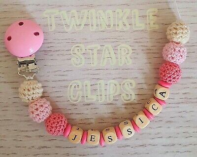 Personalised Wooden Dummy Clip 6 Crochet Pom Poms Girls Baby Pink Cream Pacifier