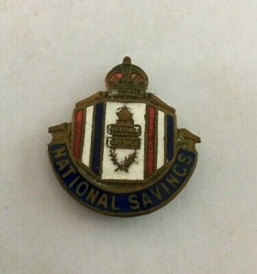 Vintage Enamel & Brass National Savings Pin Badge by Fattorini & Sons Ltd