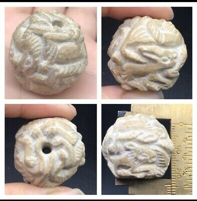 Very Old Bactrain Differnt Animal Craved Wonderfull  Bead