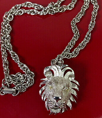 Silver Tone Metal Lion Head Choker Necklace
