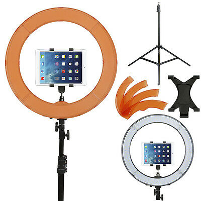 Prismatic LED Halo Ring Light w/ light Stand, Tablet Mount & Tungsten Plates