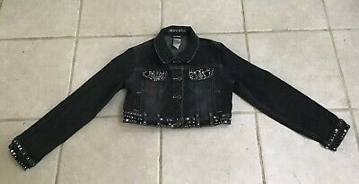 Limited Too Girls Light Black W/Gems Cropped Denim Jean Jacket Sz 10 Gc!