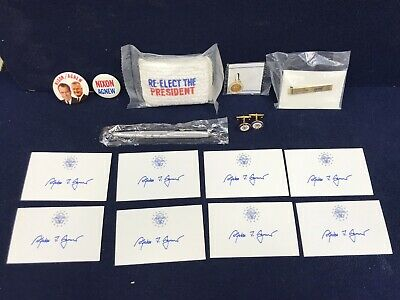 39th Vice President Spiro Agnew 8 Signed Card Lot With Extras Cufflinks,Charms..