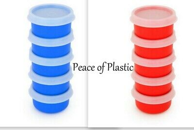 Tupperware NEW Set of 10 5-Red & 5 Blue Smidgets Containers Sheer Seals