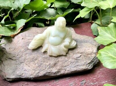 Vintage Hand Carved Light Green Jade Leaning Back Happy Buddha