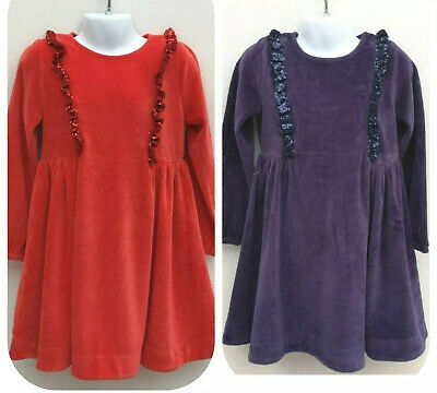 New Girls Sparkly Velour Party Dress Ex Boden Age 3-12 yrs RRP £40 Red Purple