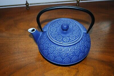Primula Japanese Asian Cast Iron Teapot Blue Floral Infuser Tetsubin Teavana Tea