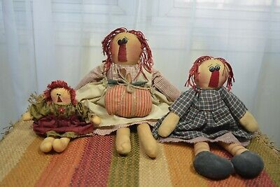 Lot 3 Handmade Primitive Raggedy Ann doll w/ Halloween Fall Pumpkin