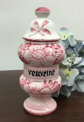 French Antique Pharmacy Apothecary Jar or Pot Verveine  - g002b