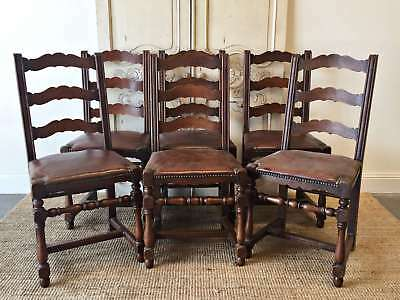 Antique French Dining Chairs Set Six Ladder Back Provincial Farm - QN041b