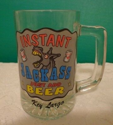 Funny Beer Glass Instant Jackass Just Add Beer Donkey Beer Can Humor Key Largo