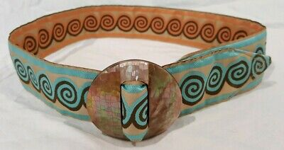 Womens Reversible Belt art deco style belt with real abalone shell buckle