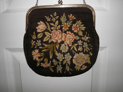 Vintage Antique French France Design Tapestry Purse Clutch Floral Flowers BIN