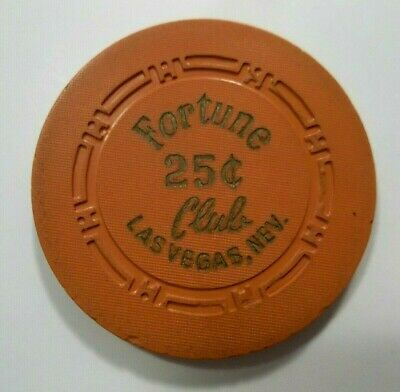 Fortune Club 25 Cent Casino Poker Chip Old Take A Look Vintage Las Vegas Nv
