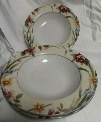 "Set of 3 COVENTRY STONEWARE ""SPRING ROOSTER"" 9"" PASTA BOWLS"