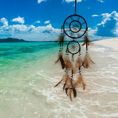 Brown Dream Catcher w/ feathers Wall Hanging Decoration Decor Ornament Gift