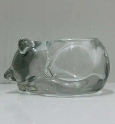 Vintage Indiana glass clear heavy cut crystal  sleeping cat votive candle holder