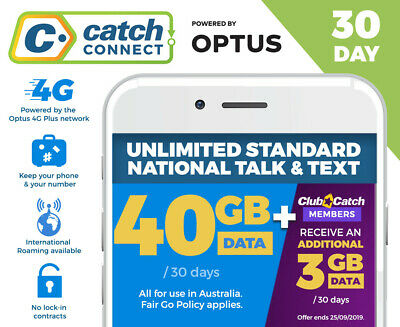 Cheap Mobile Plan 40GB Data 30 Days Catch Connect