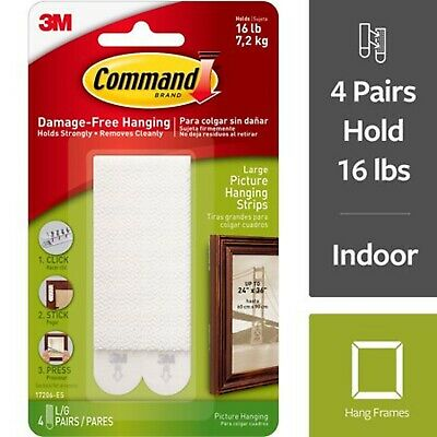 3M Command Large Picture Hanging Strips White Damage Free Holds 16lb 7.2kg