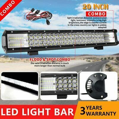 20inch 7D Tri-row LED Work Light Bar Spot Flood Combo Driving Offroad 22'' +Wire
