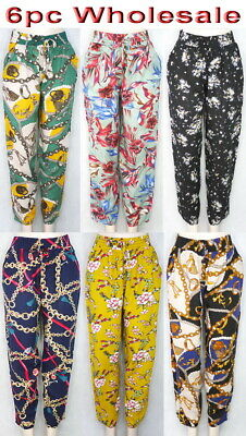 6pc Wholesale Long Women Cotton Casual Harem Loose BOHO Pants Free Size Mixed