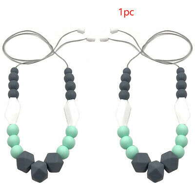 Women Silicone Baby Necklace Pendant For Mom Beads Teething Handmade All-Match