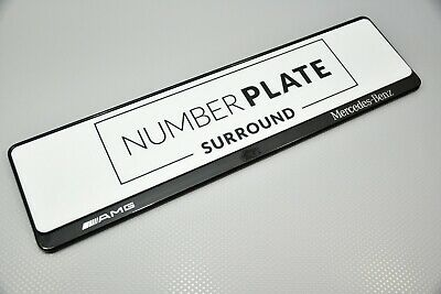 1 x Prestige Black Stainless Steel Number Plate Surround for any Mercedes AMG