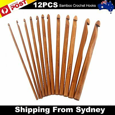 12X Bamboo Tunisian Crochet Hooks Set Kit 12 Sizes 3mm to 10mm Knitting Needle A
