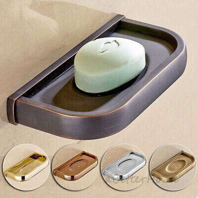 Solid Simple Wall Mounted Bathroom Shower Soap Dish Holder Storage Rack Cup Tray