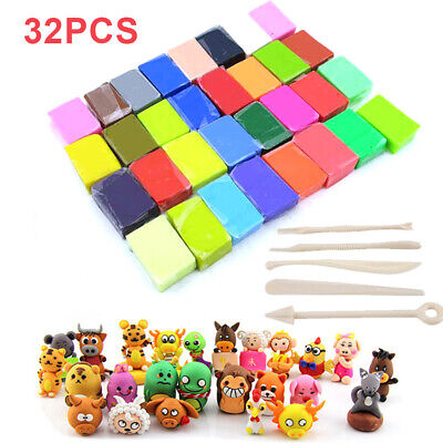 32 Mixed Color Oven Bake Polymer Clay Block Modelling Moulding Sculpey Tools DIY