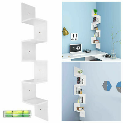 5 Tier Floating Wall Shelves Corner Shelf Storage Display Bookcase Home Decor