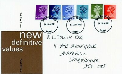 Gb 1981 Royal Mail First Day Cover. Definitive Set Derby Cancellation (Fdc162)